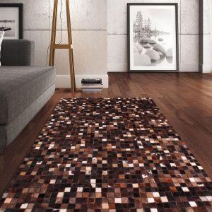 Cowhide Brown White Wool Rug by Prestige