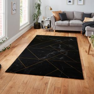 Craft 23299 Black Gold Abstract Rug by Think Rugs
