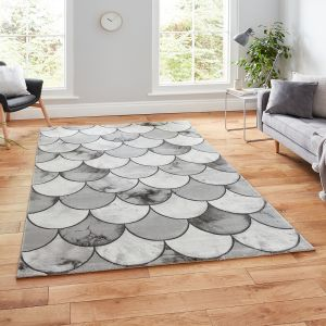Craft 23361 Grey Silver Abstract Rug by Think Rugs