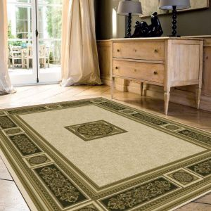 Da Vinci 057 0801 6223 Cream Black Traditional Rug by Mastercraft