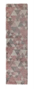 Dakari Nuru Pink Cream Grey Modern Shaggy Runner by Flair Rugs