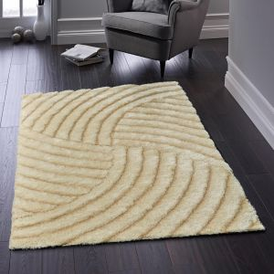 Dallas Champagne Abstract Shaggy Rug By Origins