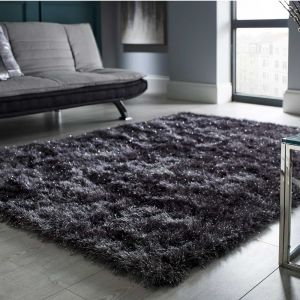 Dazzle Charcoal Plain Shaggy Rug by Flair Rugs