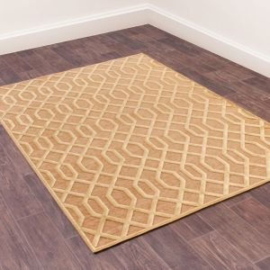 Dimensions 625 Gold Geometric Rug by Prestige