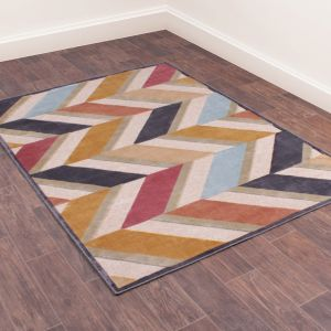 Dimensions 834 Teal Geometric Rug by Prestige