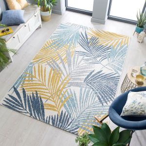 Dimensions Outdoor Tropic Ochre Blue Rug by Flair Rugs