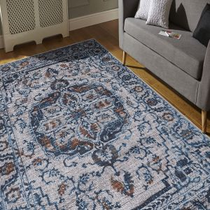Easy Care Boheme Natural Denim Rug by Floorita