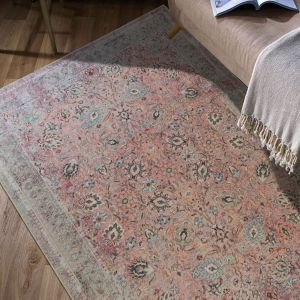 Easy Care Sarouk Pink Floral Rug by Floorita