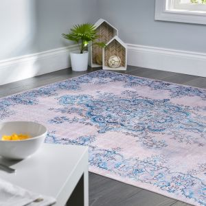 Easy Care Sonja Natural Blue Rug by Floorita