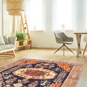 Easy Care Uzbek Blue Floral Rug by Floorita