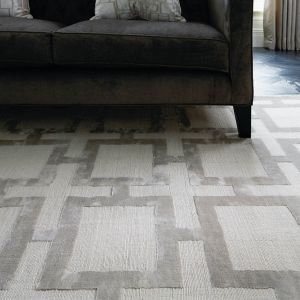 Eaton Silver Geometric Rug by Katherine Carnaby