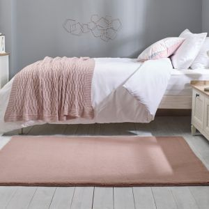 Emelia Faux Fur Bergen Blush Pink Plain Rug by Flair Rugs