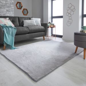 Emelia Faux Fur Bergen Grey Plain Rug by Flair Rugs