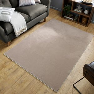 Emelia Faux Fur Bergen Mink Plain Rug by Flair Rugs