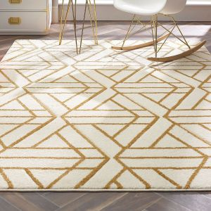 Escher Cream Gold Geometric Rug by Origins
