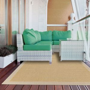 Essentials Chrome Yellow Bordered Rug by Floorita