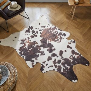 Faux Animal Cow Print Black White Rug by Flair Rugs