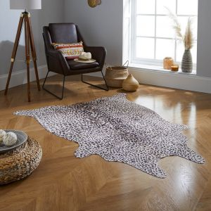 Faux Animal Leopard Print Brown Natural Rug by Flair Rugs