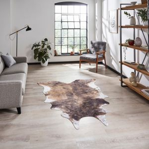 Faux Cow Print Brown White Abstract Rug by Think Rugs