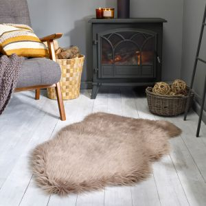 Faux Fur Sheepskin Mink Plain Shaggy Rug by Flair Rugs