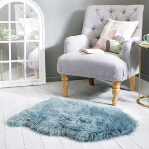 Faux Fur Sheepskin Teal Plain Shaggy Rug by Flair Rugs