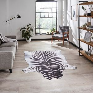 Faux Zebra Print Black White Abstract Rug by Think Rugs