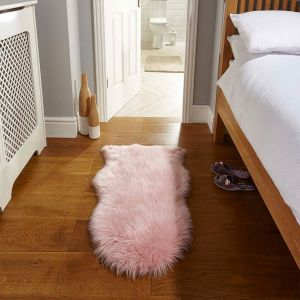 Faux Fur Sheepskin Pink Rug By Flair Rug