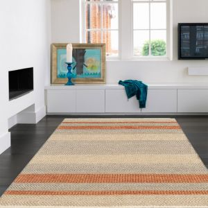 Fields Coral Striped Rug By Asiatic
