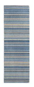Fine Stripes Blue Beige Wool Runner by Origins