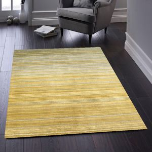 Fine Stripes Ochre Wool Rug by Origins