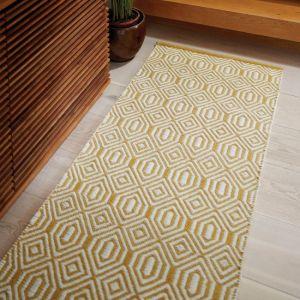 Flatweave Geo Ochre Cream Wool Runner by Origins