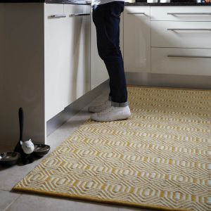 Flatweave Geo Ochre Cream Wool Rug by Origins