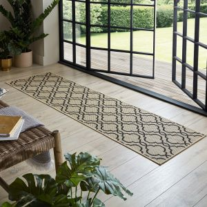 Florence Alfresco Milan Beige Black Geometric Runner by Flair Rugs