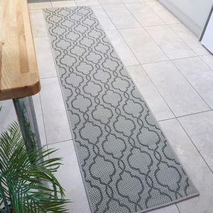 Florence Alfresco Milan Grey Black Geometric Runner by Flair Rugs