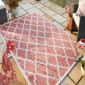 Florence Alfresco Padua Red Beige Geometric Rug by Flair Rugs