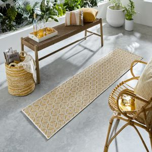 Florence Alfresco Veneto Ochre Geometric Runner by Flair Rugs
