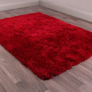 Flossy Red Shaggy Rug by Ultimate Rug