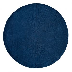 Folia 38308 Navy Hand Tufted Wool Circle Rug by Wedgwood
