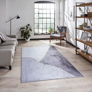 Force K7279 Grey Gold Abstract Rug by Think Rugs