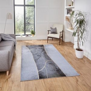 Force K7280 Grey Gold Abstract Rug by Think Rugs