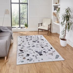 Force K7282 Ivory Grey Abstract Rug by Think Rugs