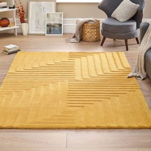 Form Ochre Geometric Wool Rug by Origins