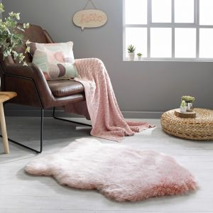 Freja Faux Fur Copenhagen Blush Pink Shaggy Plain Rug by Flair Rugs