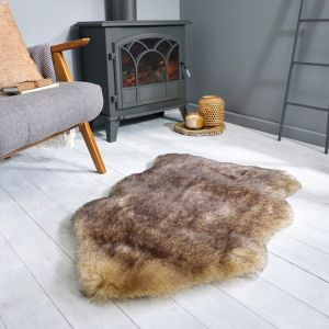Freja Faux Fur Copenhagen Brown Shaggy Plain Rug by Flair Rugs