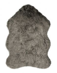 Freja Faux Fur Copenhagen Charcoal Shaggy Plain Rug by Flair Rugs