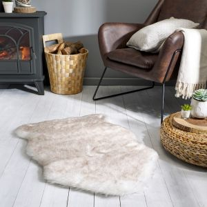 Freja Faux Fur Copenhagen Cream Shaggy Plain Rug by Flair Rugs