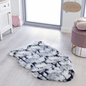 Fun Faux Fur Yeti Black White Grey Rug by Flair Rugs