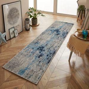 Gilbert 90 L Blue Grey Abstract Runner by Oriental Weavers