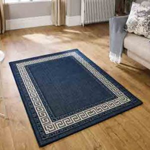 Greek Key Flatweave Bordered Blue Rug by Oriental Weavers