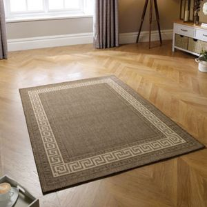 Greek Key Flatweave Bordered Brown Rug by Oriental Weavers